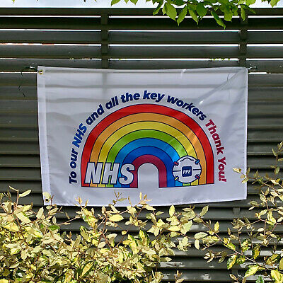 Thank You NHS RAINBOW FLAG House Flag 3FT X 2FT - SUPPLY PPE NHS Charity FACE