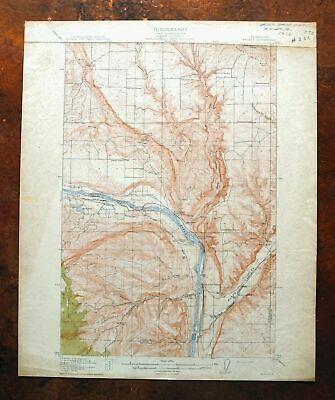 1914 Malaga Washington Antique USGS Topographic Map East Wenatchee Bench Topo