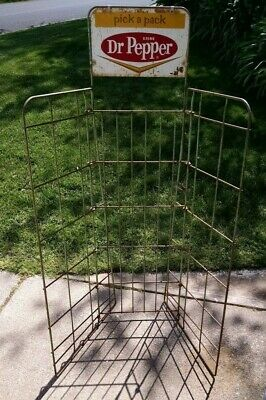 c1960s Dr Pepper soda bottle crate rack w sign gas station grocery store