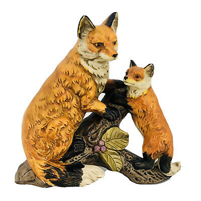 """Fox and Cub 6"""" Norleans Porcelain Ceramic Figurine Rare Vintage Made in Japan"""