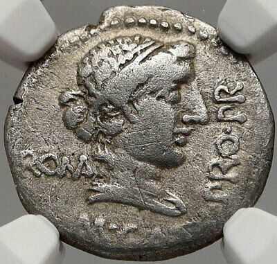 CATO UTICENSIS ENEMY of JULIUS CAESAR 47BC Silver Roman HERO Coin NGC i83553