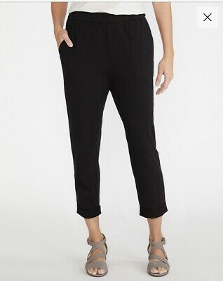 EILEEN FISHER Black ORGANIC Cotton Jersey Tapered Cuffed Ankle Pants w Pockets L