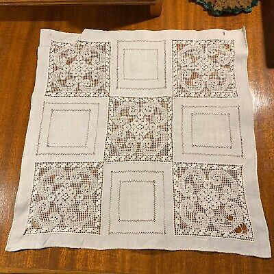 Antique 1900 Linen Handmade Centerpiece~Crochet Squares + Drawn Work~Exquisite