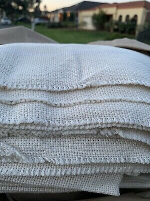 Monks Cloth With White Lines For Oxford Punch Needle 1/2 meter - 50 X 150cm