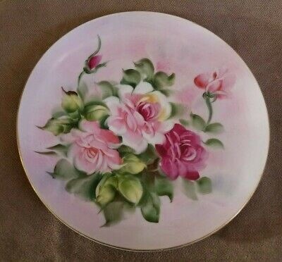Vintage Shabby Chic Dusty Rose Plate, Lefton, Japan, Hand Painted
