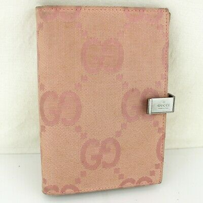 Auth GUCCI Agenda Notebook Cover GG Pattern Canvas 031 1408 0928 Pink