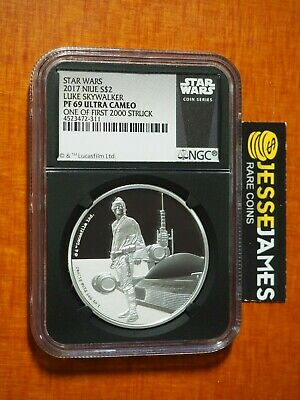 2017 $2 Niue Silver Luke Skywalker Star Wars Ngc Pf69 Ucam 1 Of 1St 2000 Struck