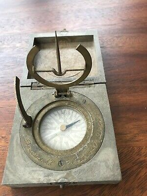 Antique Maritime Brass Sundial Compass in Box  Barcelona Madrid London