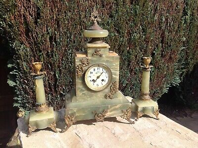 French Onyx Mantle 19th Century Clock Mantel Green Candle Holders Antique