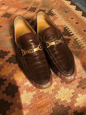 Vintage Men's Gucci Brown Leather & Gold Loafers - 10.5 / 44