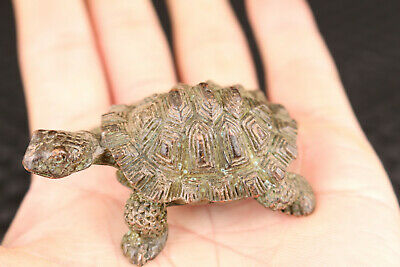 Art Chinese old bronze hand casting tortoise Tea pet figure Statue netsuke