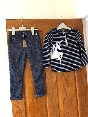 BNWT Girls Joules Navy Unicorn Outfit Age 5