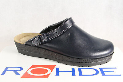 Rohde / Beck Women Clogs Slippers House Shoes Sabot Leather Blue 143856 New
