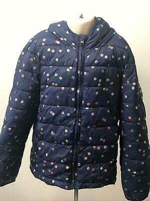 Girls Gap Kids Blue & Multi Colour Hooded Padded Coat Jacket Kids Age 10-11 Yrs