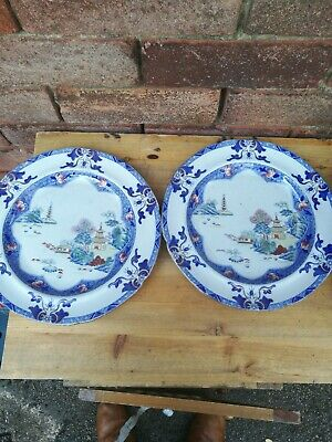 Very Early Porcelain China Pair Spode Chinoiserie Transfer Plates