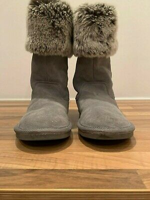 Next Girls Grey Suede Faux Fur Boots With Tags Size Uk 6, Euro 39