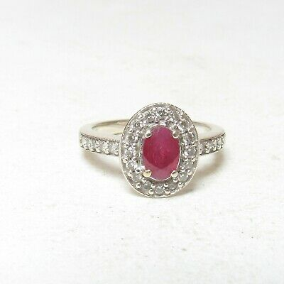 Estate 14K White Gold 0.60 Ct Natural Oval Berry Red Ruby And Diamond Halo Ring