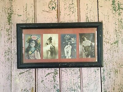 Lovely Antique Lithograph Postcard Picture Wood frame Roses Victorian Ladies #11