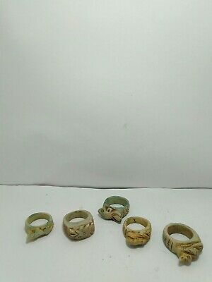 RARE ANTIQUE ANCIENT EGYPTIAN 5 Rings Amulets Protection Gods 1635-1525 Bc