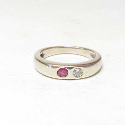 Estate 14K White Gold 0.10 Ct Natural Wine Red Ruby Diamond Band Style Ring
