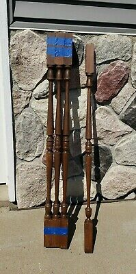 """7 - Posts 44"""" Victorian Colonial Solid Wood Balusters Hand Turned Spindles VTG"""