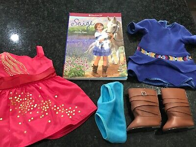 American girl doll Saige Meet outfit, pink dress, book