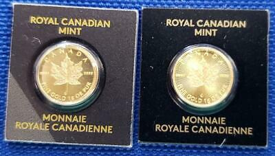 2-Canada 1 Gram .9999 Gold 50c Maple Leaf Coins 2015/2019 sealed in orig. L6666