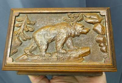 Antique Hand Carved Wood Wooden Bear Black Forest Trinket Jewelry Box Carving