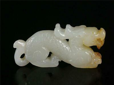 Antique Old Chinese Nephrite Celadon Jade Carved Statue Toggle POWERFUL DRAGON