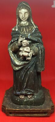 Antique Carved Wood  Religious Virgin Mary Madonna & Child Santos Figure