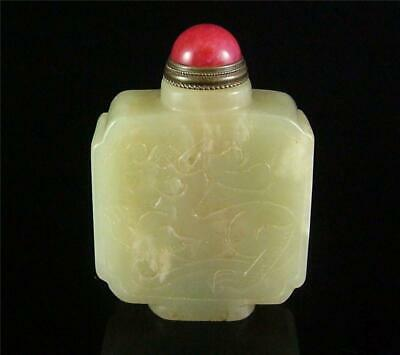 Antique Old Chinese Celadon Nephrite Jade Carved Snuff Bottle POWERFUL DRAGON