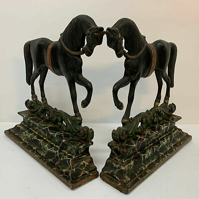 Antique Pair Cold Painted Chimney Ornaments Horses Greenlees Glasgow