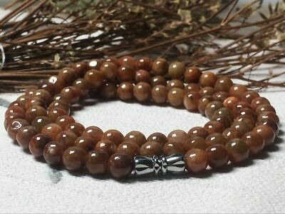 5.5mm100% Natural A Brown  Red Jadeite Jade Beads ~Necklace Have certificate1549