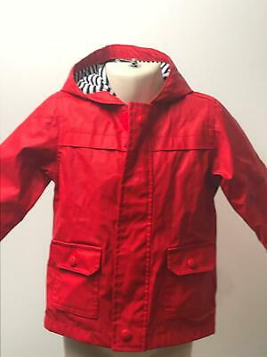 Girls Mothercare Red Hooded Lightweight Raincoat Jacket Kids Age 12-18 Months
