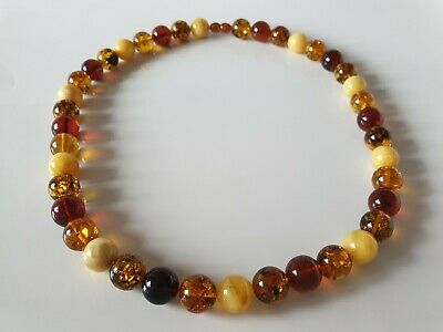 Bernsteinkette Baltic Amber Necklace Multicolor Beads Balls