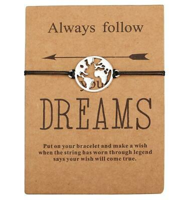 Friends Wish Dream Come True String Charm Card Friendship Family Bracelet Gifts