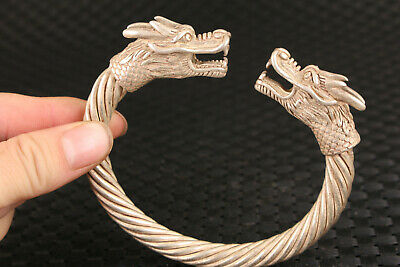 Rare chinese old tibet silver hand carved dragon statue bracelet gift