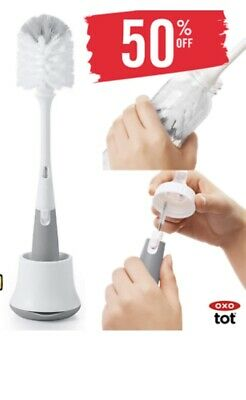 OXO Tot Bottle Brush with Nipple Cleaner and Stand, Gray Brand New