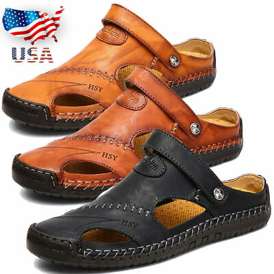 US Men Summer Sandals Closed Toe Fisherman Shoes Leather Slippers Hand Stitching
