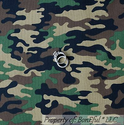 BonEful Fabric Cotton Quilt Green Brown Camo Army Military Camouflage Sale SCRAP
