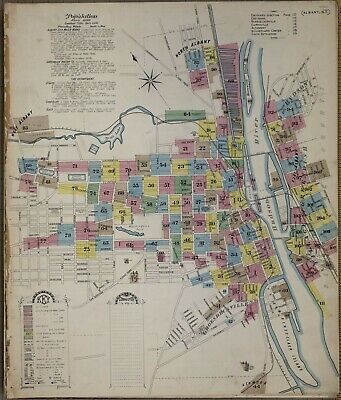 Albney, NY,  New York~Sanborn Map©~sheet 67 ~1892~enhanced by seller in color