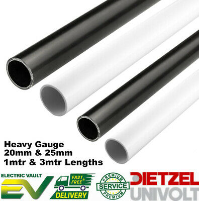 Univolt PVC Round Conduit Heavy Gauge 20MM & 25MM 1MT/3MT Lengths Black & White