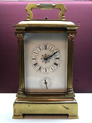 Antique French Brass 8 Day Carriage Clock Strike Alarm