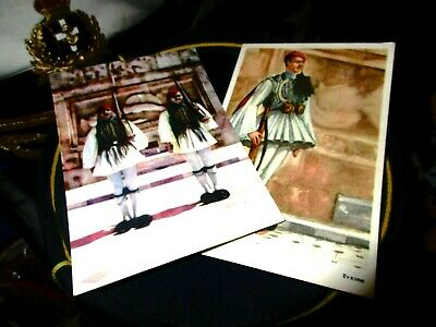LITHO POSTCARDS GREEK TSOLIAS EVZONAS HELLENIC TRADITIONAL COSTUM FROM 50s