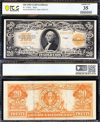 """AWESOME Crisp Choice VF++ """"MULE"""" 1922 $20 GOLD CERTIFICATE! PCGS 35! K2560710"""