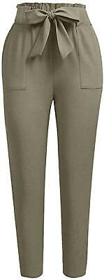 Ginasy Women'S Paper Bag Pants Casual Trouser Elastic Tied Front High Waist With