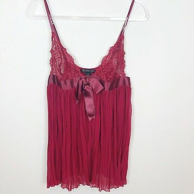 WOMEN'S Victoria's Secret BURGUNDY RED SLEEVELESS BABYDOLL NIGHTGOWN SZ LARGE