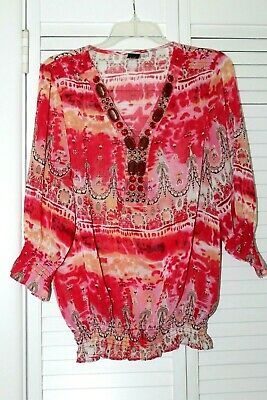 NWOT M by MARC BOUWER Red Printed Blouse with Embellished Beaded Neck M A199341