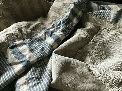 Antique French Indigo blue Check Linen & hemp stripe  Rustic Fabric 18th