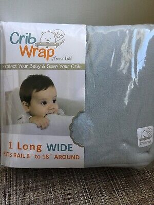 Trend Lab Crib Wrap Rail Covers Long Wide Protect Baby Crib Gray 4621603183